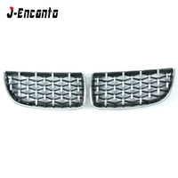 A pair Front Kidney Grille For BMW 3 Series E90 2005 2008 Diamond Grille Meteor Style Front Bumper Grill Car Styling