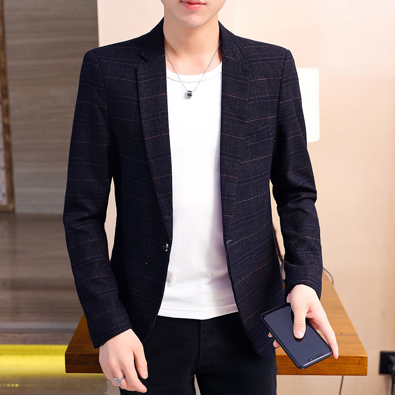 Summer Stylish Blazer Men Casual Office Knit Korean Blue Blazer Mens Buttons Formal Casual Terno Masculino Suit Coat JJ60XX