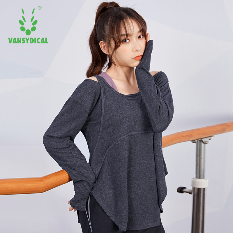 VANSYDICAL <font><b>2</b></font> in <font><b>1</b></font> Yoga <font><b>shirt</b></font> Women Quick Dry Sport Long Sleeve Solid Loose Gym Yoga Tops Running Breathable workout <font><b>sexy</b></font> <font><b>shirt</b></font> image