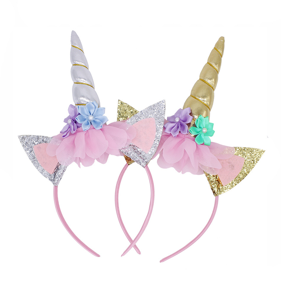 Fashion Headband Cute Kids Women Sweet Flower Unicorn Horn Hair Band Birthday Party Flower Floral Crown Headwear