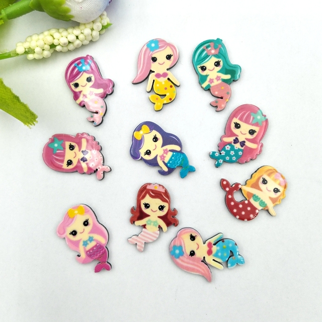 20pcs Lovely Colorful mix Various Mermaid For Home Wedding Decor Crafts Making Scrapbooking DIY Hair Bow Center 6