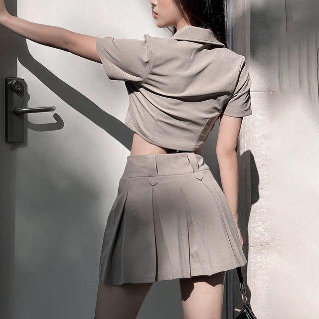 Harajuku Shirt & Skirt Set Women's Clothing & Accessories Tops & Tees Blouses & Shirts Camis & Tops Bottoms Shorts Skirts All Dresses Dresses cb5feb1b7314637725a2e7: Black|Khaki