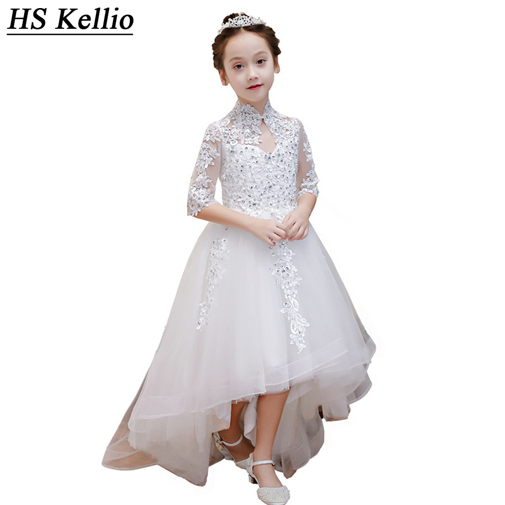 HS Kellio   Flower     Girl     Dress   High Low Off White High Collar Wedding Party Gown For Little   Girls   With Sleeves