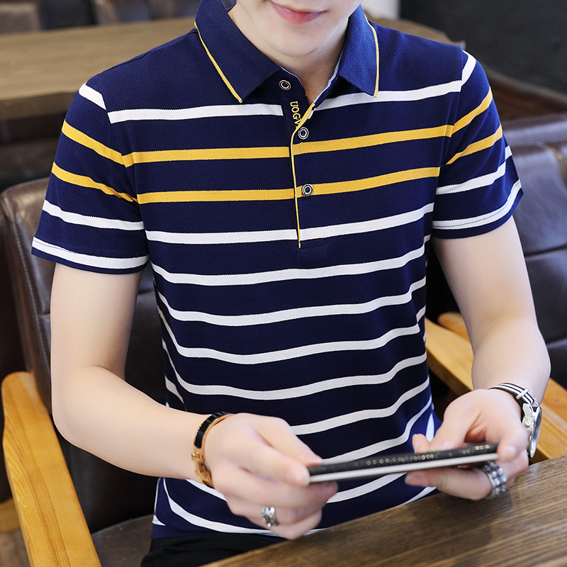 Summer Short-sleeved Polo Shirts Man 2020 Business Fashion Mens Cotton Strip Polo Shirt Quality Breathable Top Tees Polo Hombre