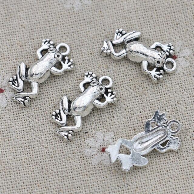 JAKONGO, abalorios de rana chapados en plata, colgantes para hacer joyería, pulsera DIY, accesorios 22x13mm 15 Uds