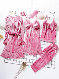 Velvet Robe Nightwear Pajamas-Sets Gown-Sets Sleepwear Gold Sexy Winter Women 3-6pieces