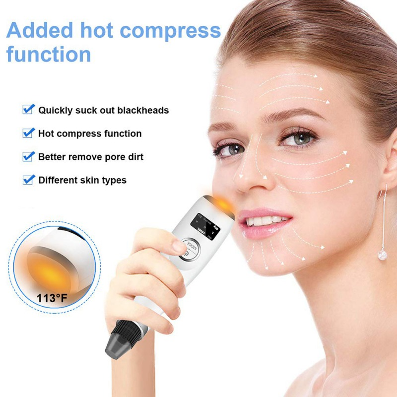 Electric Blackhead Remover Blemish With Hot Compress Pore Cleaner Face Skin Care Tool Accessory