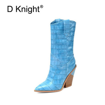 Fashion Bright Leather Women Boots Pointed Toe Western Cowboy Boots Women Mid-calf Chunky Wedges Heel Boots Runway Shoes Size 46
