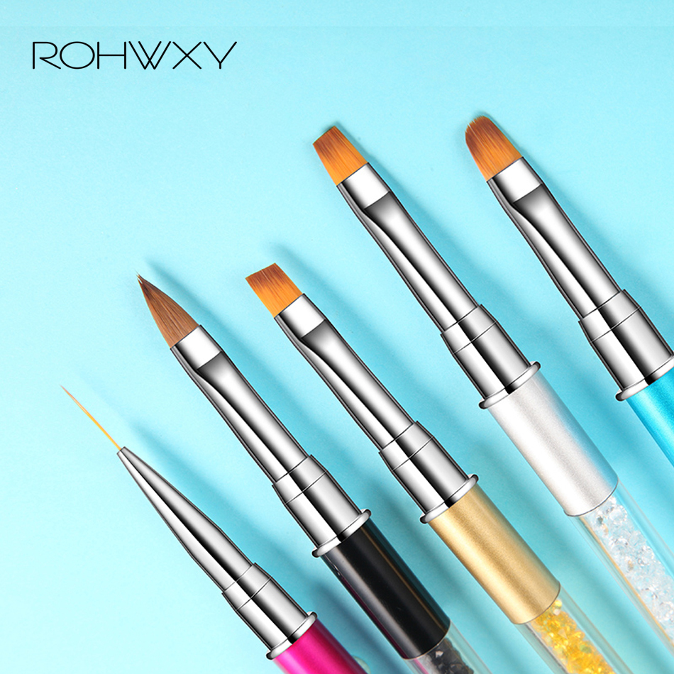 ROHWXY 1 PCS Nail Art Liner Brush Manicure Flower Line Grid French Design Acrylic UV Gel Pen Professonal Nail Art Accessories