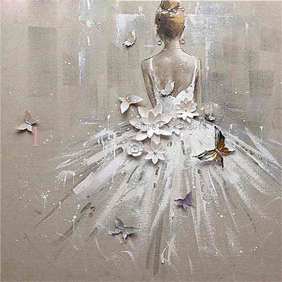 Kit per Punto Croce Decorazione per la casa Dipinto Fai da Te con Diamantini Quadro Completo di Diamanti Rapoyo Motivo: Ballerina di Danza in 3D