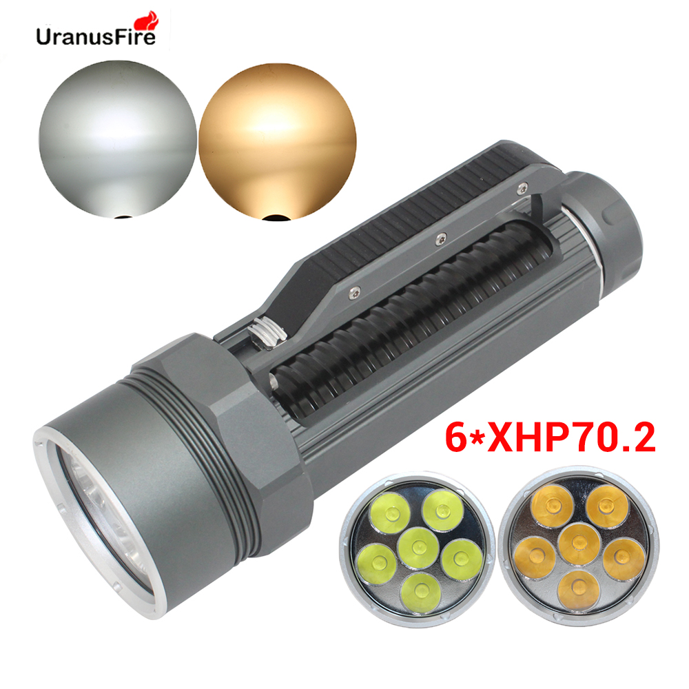 Super Brightest XHP70.2 LED Diving Flashlight Torch 26650 32650 Waterpoof 100m Underwater 10000lm Scuba 6*xhp70 .2 Dive Lamp