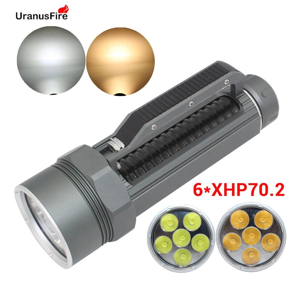 Super lumineux XHP70.2 LED lampe torche de plongée 26650 32650 Waterpoof 100m sous marin 10000lm plongée 6 * xhp70. 2 lampe de plongée