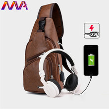 MVA Leather Chest Bag Men Shoulder Bag Quality Pu Leather Men`s Waist Pack Fashion Men USB Phone Leather Chest Bag(China)