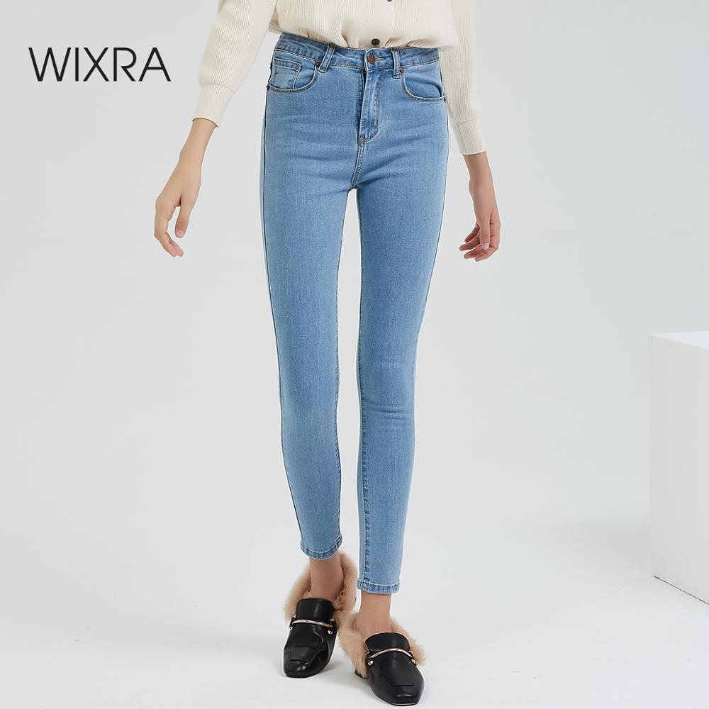 Wixra Basic Jeans Vintage Fit High Waist Stretched Jeans Femme Women Washed Blue Denim Skinny Classic Pencil Pants Trousers