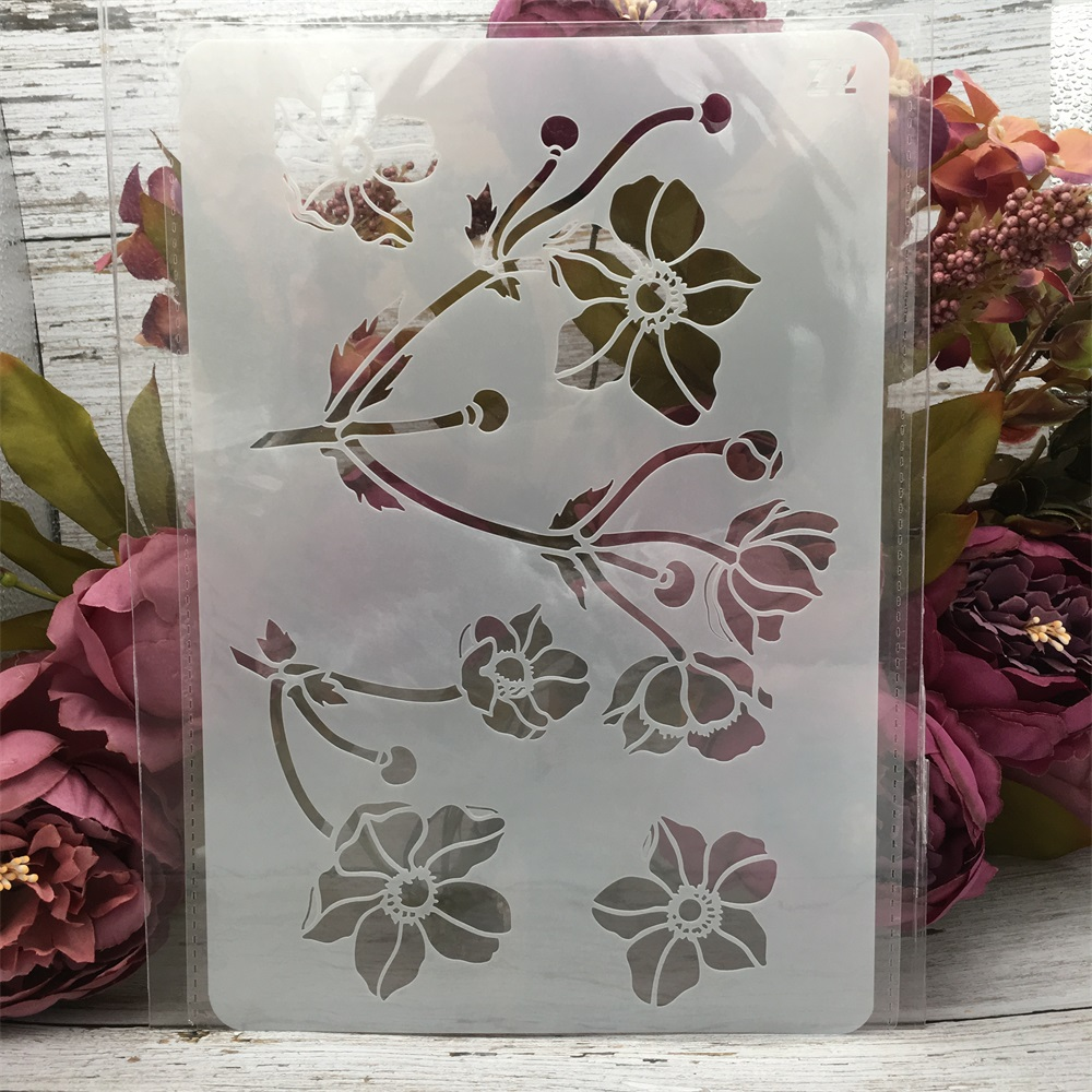 1Pcs 26*17cm Flowers DIY Layering Stencils Wall Painting Scrapbook Coloring Embossing Album Decorative Card Template