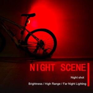 Image 2 - Feu arrière de bicyclette LED Rechargeable par USB COB VTT, feu davertissement de sécurité pour vtt, lumière de bicyclette imperméable