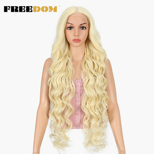 FREEDOM Synthetic Lace Front Wig 40 INCH Blonde Wig For Women Fantezi Long White Wig 613 Lace Front Wig Hot In The US Amazon(China)