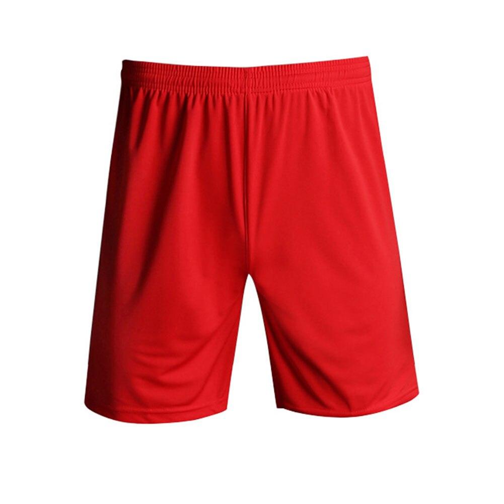 Быстросохнущие спортивные мужские шорты с эластичной резинкой на талии для тренировок, бега, спортзала, пробежек, занятий спортом, фитнесом, футболом, дышащие, одноцветные - Цвет: Красный