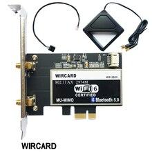 Adaptador de placa de rede wi fi, sem fio, banda dupla, 2400mbps com intel wi fi 6 ax200 ngw com 802.11 ac/ax bt 5.0 para desktop