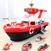 Red ship with 4 car