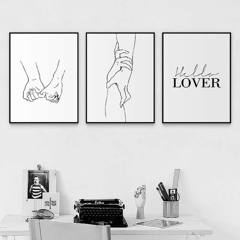 Nordic Back White Style Sweet Love Wall Art Canvas Poster Minimalist Print LOVE Quotes Painting Picture for Living Room Decor