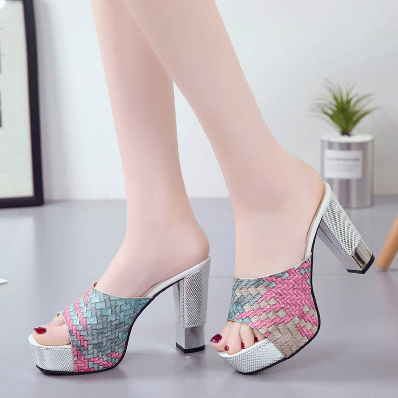 2020 New Women Pu Leather Summer Slippers Peep Toe Sexy Super Square High Heels Fashion Party Shoes Woman Platform Sandals