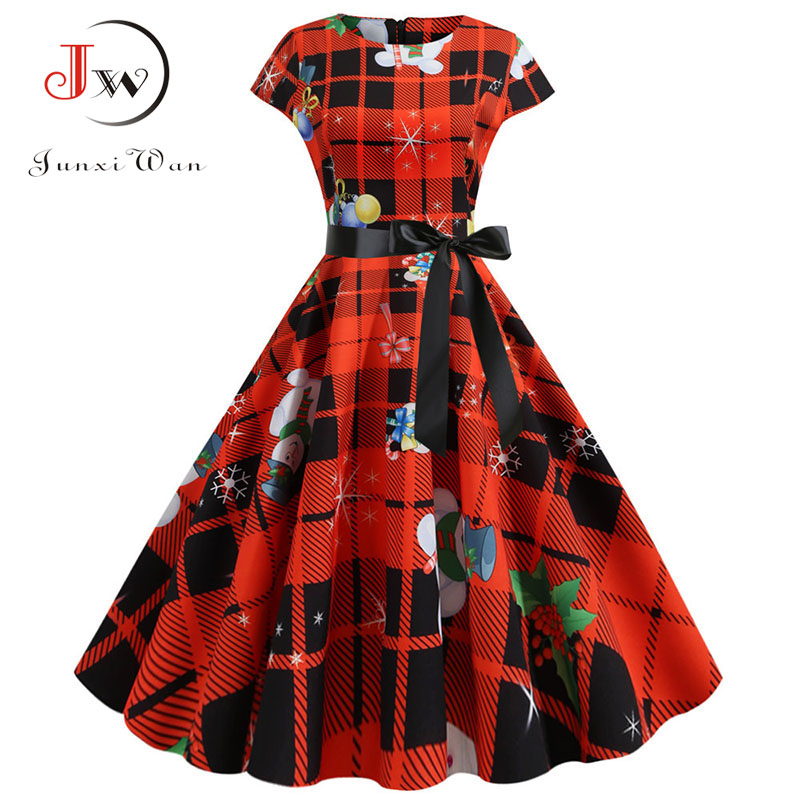 Plus Size Red Plaid Print Elegant Vintage Party Christmas Dress 2019 Women Summer Short Sleeve Casual Pin Up Midi Jurk Robe