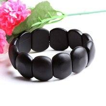 Real Natural black jade sibin bian stone needle byanshi bianshi SI Bin Hand row brief bracelet Magnetic therapy health care