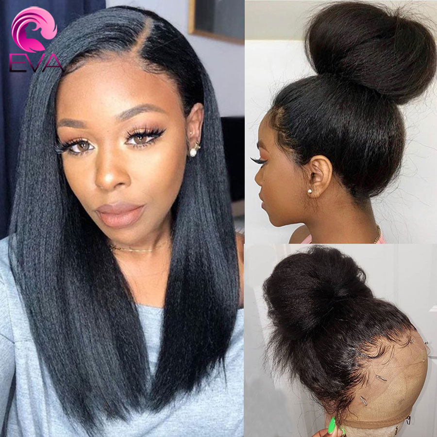 Eva Hair 150% Yaki Straight Full Lace Human Hair Wigs Pre Plucked With Baby Hair Bleached Knots Remy Hair Wigs For Black Women