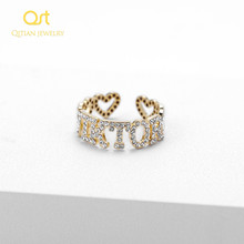 Custom Hiphop Jewelry Iced Out Zircon Stone Geometric letters fashion Ring For Women Men Handmade Jewelry For Mothers Day Gifts