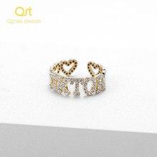 Personalizado hiphop jóias iced para fora zircon pedra geométrica letras moda anel para mulheres homens jóias artesanais para presentes do dia das mães