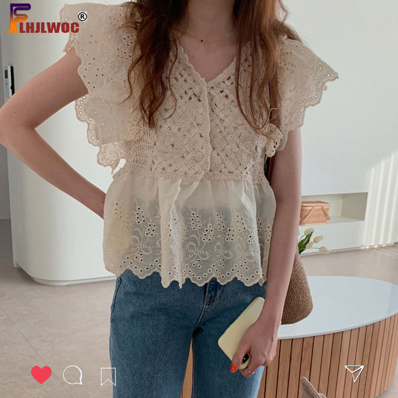 Hollow Out <font><b>Belly</b></font> New Design Chic Tops Summer Flare <font><b>Sleeve</b></font> Slim Fitted Korean Japan Preppy Style Girls Lolita Lace <font><b>Shirt</b></font> Blouses image