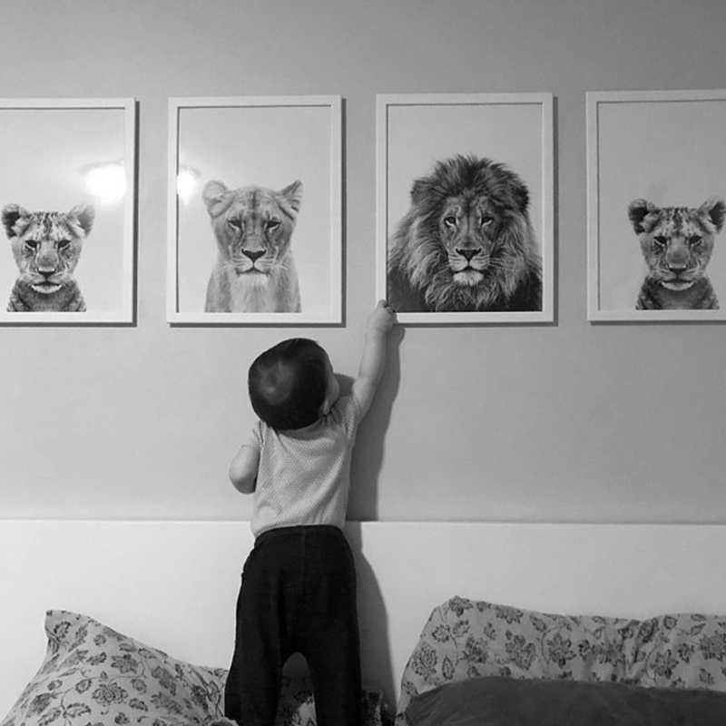 Đen Trắng Sư Tử Động Vật Áp Phích Safari Vườn Ươm Trí hình Bé Động Vật Dán Tường Trẻ Em Tranh Canvas Nghệ Dành Cho Trẻ Em phòng