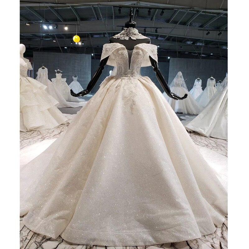 BGW HT41411 Sparkly Wedding Dresses Cathedral Collar Chain Off Shoulder Bead Cheap Bridal Dresses Vestido De Novia Manga Caida