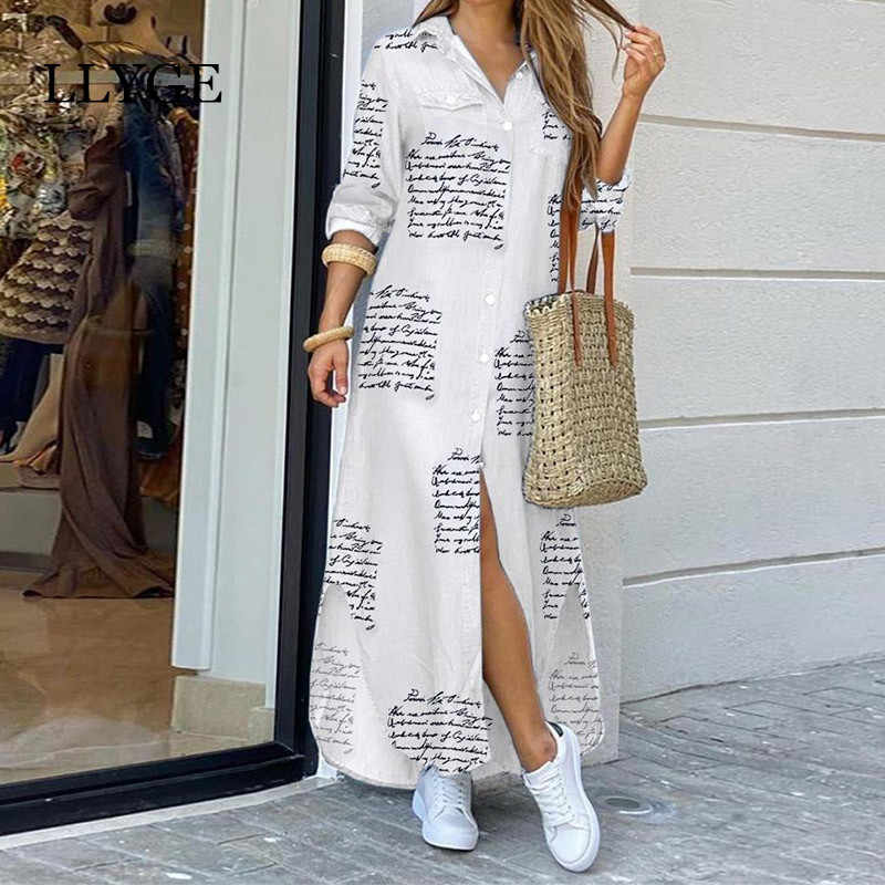 Brief Camouflage Gedrukt Lange Jurk Vrouwen Split Lange Mouwen Casual Losse Vrouwelijke Maxi Jurken Zomer 2020 Fashion Lady Vestidos