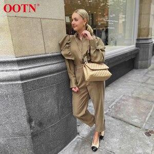Image 3 - Ootn blusa feminina de manga longa, elegante cáqui, babada, para escritório, com botão, para moças, de algodão, para primavera e outono