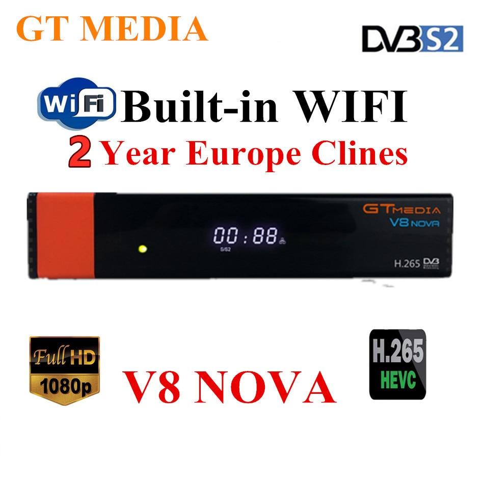 Gtmedia v8 nova mesmo que freesat v7s v9 super dvb s2 receptor de tv via satélite decodificador + 2 linhas de ano europeu cccam