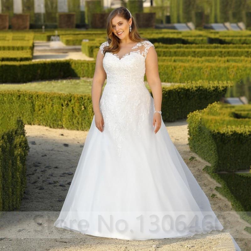 Elegant Plus Size Wedding Dress For Women Appliques Lace Scoop Neck Bride Dress For Big Size Women Vestido De Noiva 2019