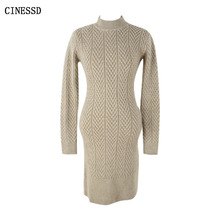 CINESSD The Sexy Knitted Bodycon Dress 2019 Women Autumn Winter White Turtleneck Long Sleeved Sweater Warm Vestidos