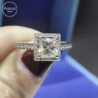 Aazuo 100% 18K White Gold Engagement Mossanite Ring 1.0 ct square Classic Style Diamond Jewelry Wedding Ring For Wo