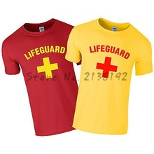 LIFEGUARD CROSS + T-SHIRT - RED / YELLOW FANCY DRESS LIFE GUARD PARTY MENS men's top tees(China)
