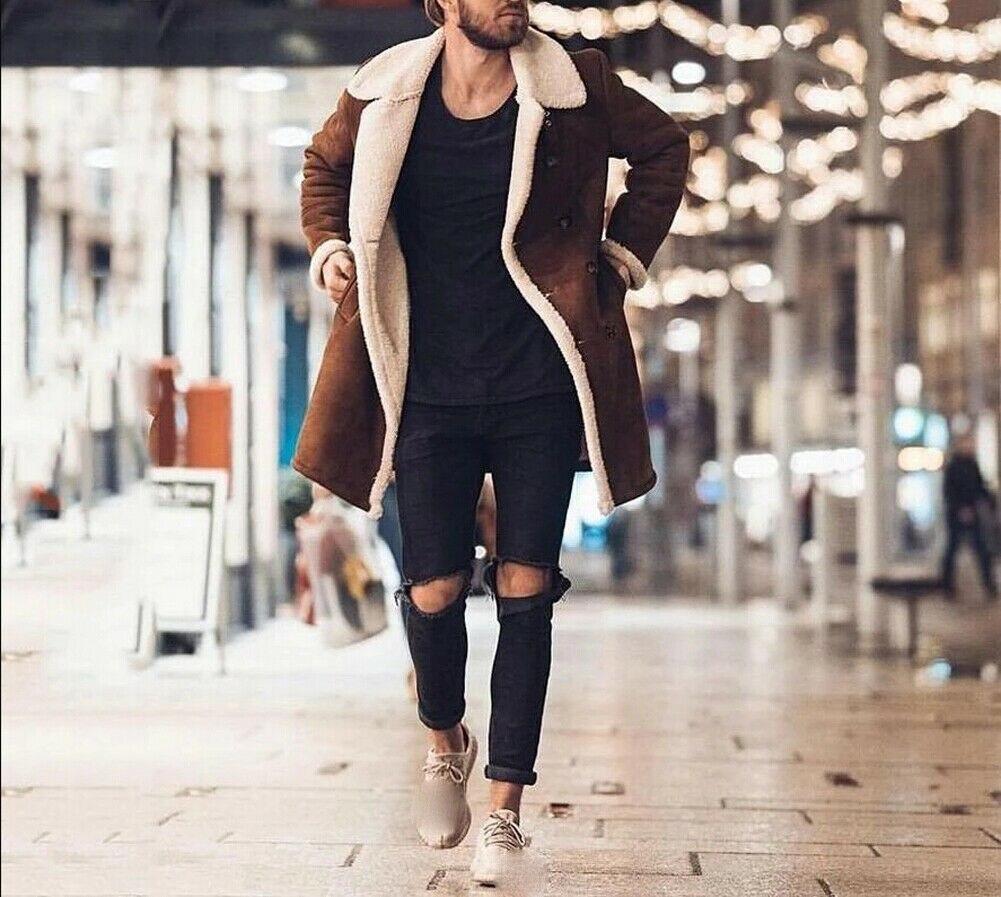 Hcb6409cd95574bf6abb914159814d98dV Men's Winter Warm Trench Windproof Fur Fleece Long Coat Overcoat Lapel Warm Fluffy Jacket Buttons Outerwear Plus Size Coat