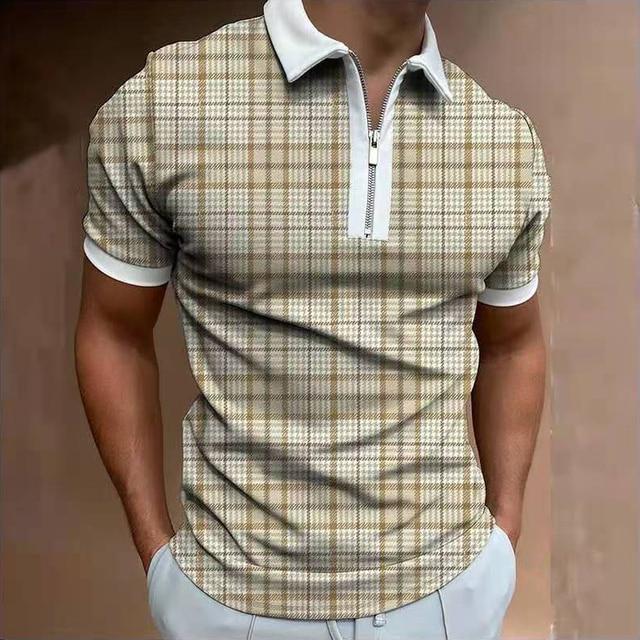 Fashion Plaid Men Short Sleeve Polo Shirts Casual Turn-down Collar Zipper Design Brand Tops 2021 Summer Polo Business Clothes 2