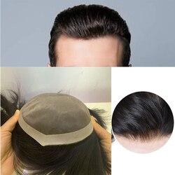 Natural preto masculino 100% humano peruca brasileira toupee para homem com laço de cabelo humano peruca rendas + trama base respirável hairpiece cabelo