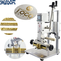 SWANSOFT Two hand Digital Hot Foil Stamping Machine for large leather bag or backpack with the stamp holder