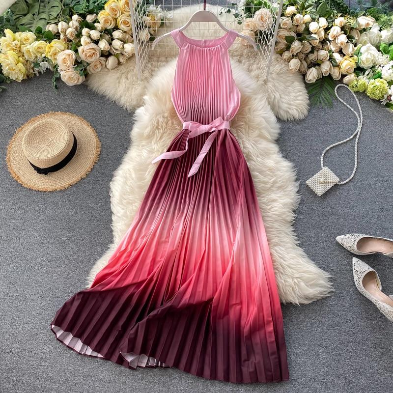 Винтажное длинное платье миди с лямкой на шее и принтом в виде галстука красителя, вечерние платья, элегантное Плиссированное пляжное платье туника на бретелях, 2020 Платья      АлиЭкспресс