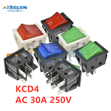 KCD4 AC 30A 250V Rocker Switch 25x31mm ON-OFF 2 Position 4/6 Pins With Light Power Switch With Dust Waterproof Cap