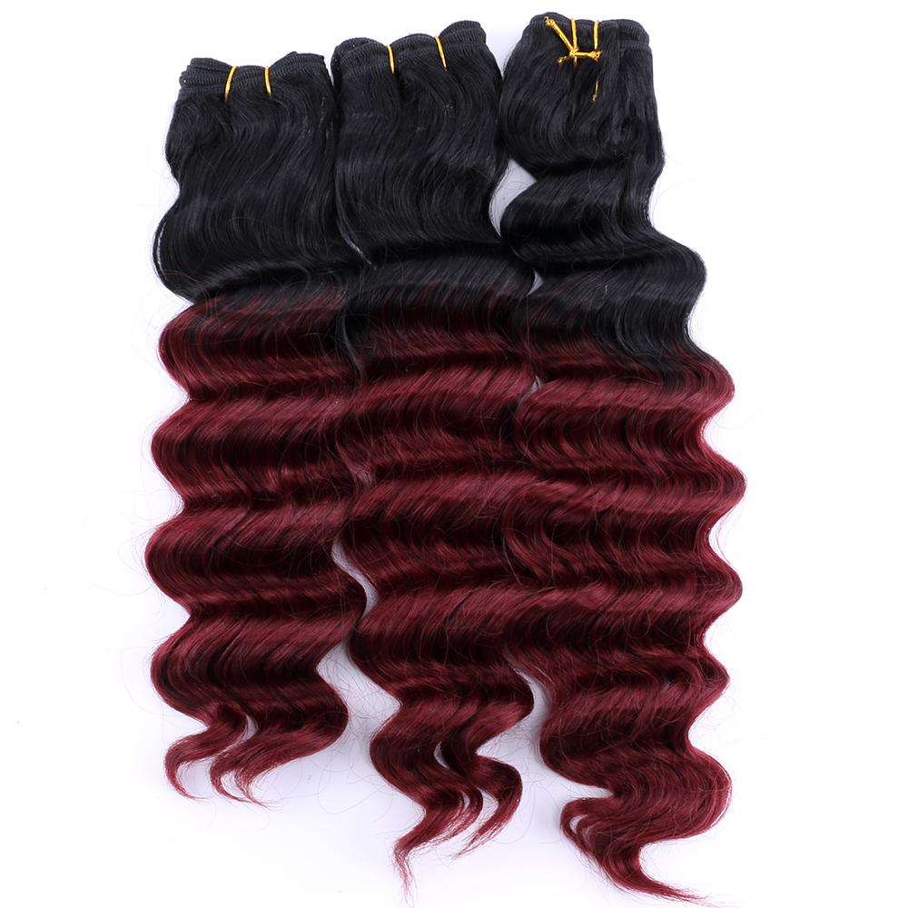 12-20 Inch Black To Burgundy Deep Wave Hair Weave Heat Resistant Synthetic Hair Extensions