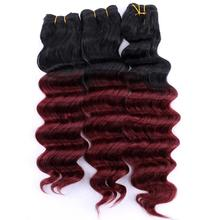 12 20 Inch Black to burgundy Deep wave hair weave heat resistant Synthetic Hair extensions