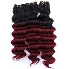 12 20 Polegada preto a borgonha extensões sintéticas resistentes ao calor do cabelo do tecer do cabelo da onda profunda